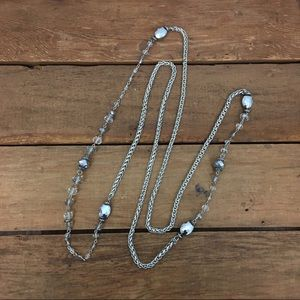 """60"""" Beaded Silver Six Side Curb Chain Necklace"""